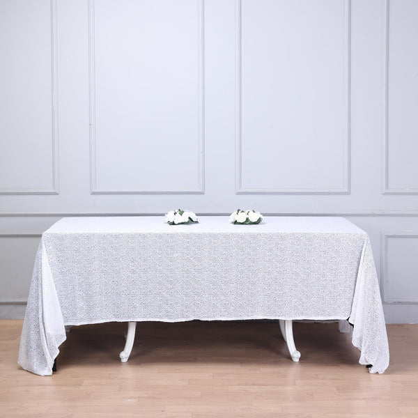 "90""x132"" White Premium Sequin Rectangle Tablecloth"