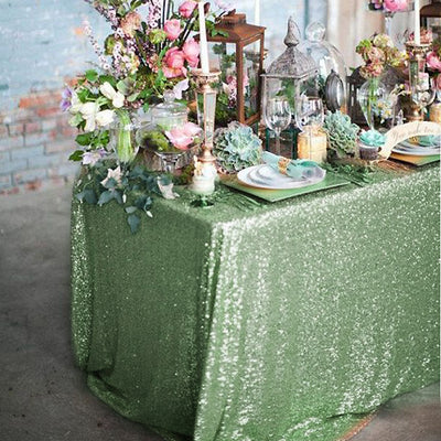 "90x156"" Premium Sequin Rectangle Tablecloth - Tea Green"