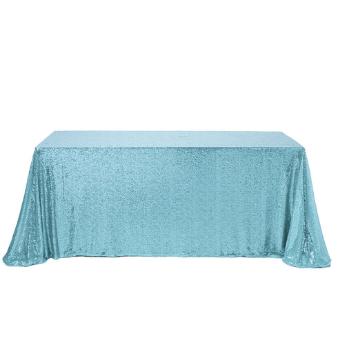 "90x156"" Serenity Blue Premium Sequin Rectangle Tablecloth"