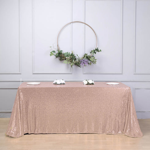 "LUXURY COLLECTION Duchess Sequin Tablecloth 90x156"" - Blush"