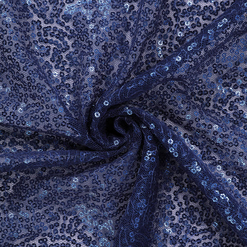 "90x156"" Navy Blue Premium Sequin Rectangle Tablecloth"
