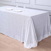 "90x156"" White Premium Sequin Rectangle Tablecloth"