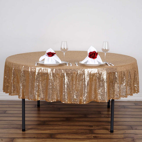 "90"" Gold Premium Sequin Round Tablecloth"