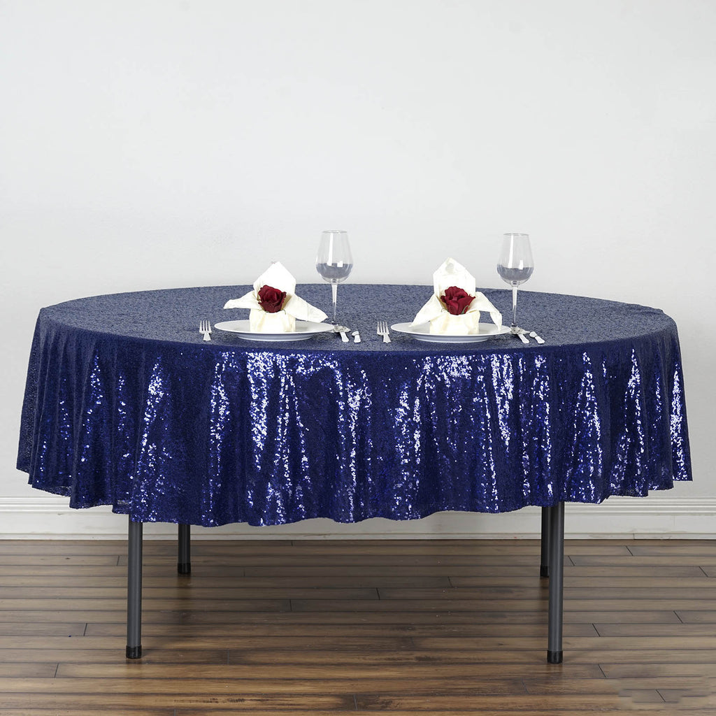 "LUXURY COLLECTION Duchess Sequin Round 90"" - Navy"