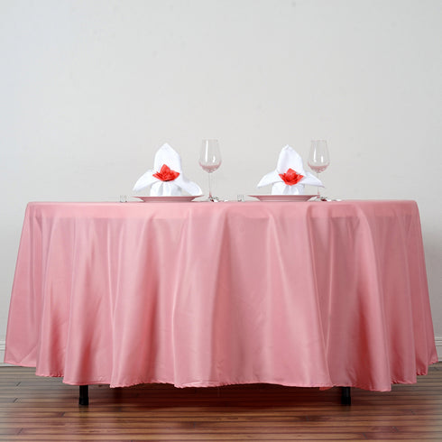 "108"" Rose Quartz Polyester Round Tablecloth"