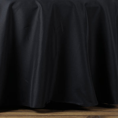 "108"" Black Seamless Premium Polyester Round Tablecloth"