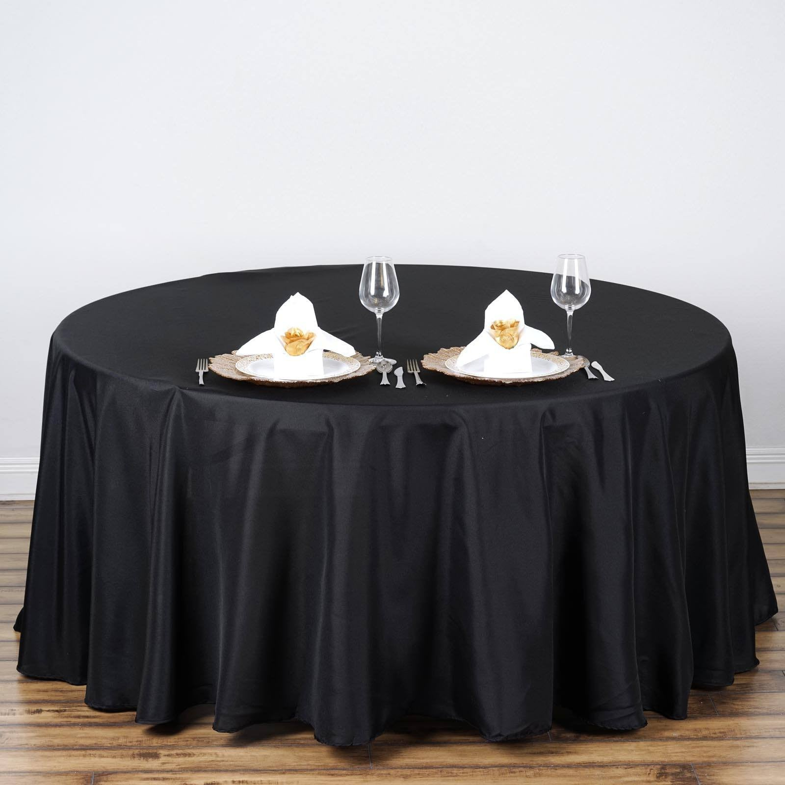 "Black 108"" Round Polyester Tablecloth"