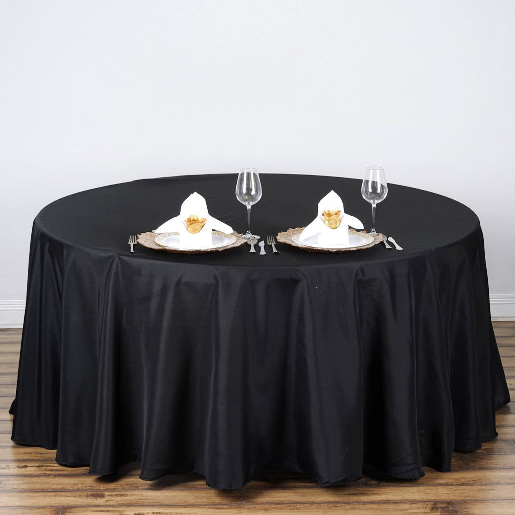 Black 108 Quot Round Polyester Tablecloth Efavormart