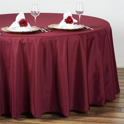 "108"" BURGUNDY Wholesale Polyester Round Tablecloth For Wedding Banquet Restaurant"