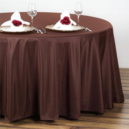 "108"" CHOCOLATE Wholesale Polyester Round Tablecloth For Wedding Banquet Restaurant"