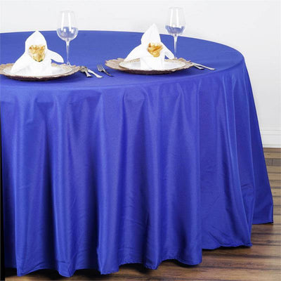 "108"" ROYAL BLUE Wholesale Polyester Round Tablecloth For Wedding Banquet Restaurant"