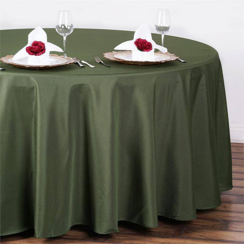 "108"" MOSS / WILLOW Wholesale Polyester Round Tablecloth For Wedding Banquet Restaurant"