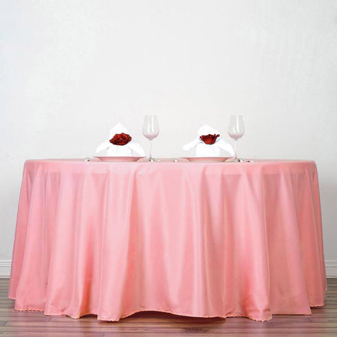 "120"" Rose Quartz Polyester Round Tablecloth"