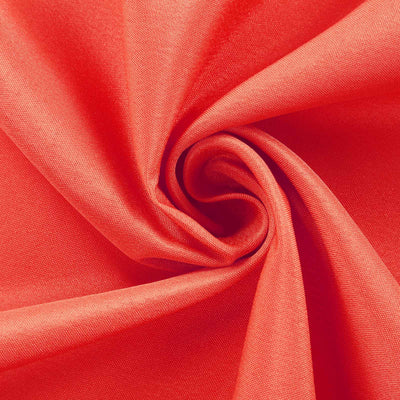 "132"" Coral Polyester Round Tablecloth"