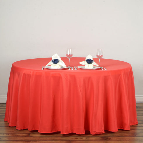 "120"" Polyester Round Tablecloth - Coral"