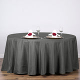 "120"" Polyester Round Tablecloth - Charcoal Gray"