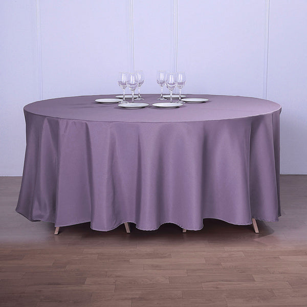 "120"" Violet Amethyst Polyester Round Tablecloth"
