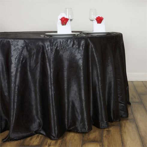 "Adoringly Adorned Satin Lily Round Tablecloth 120"" - Black"