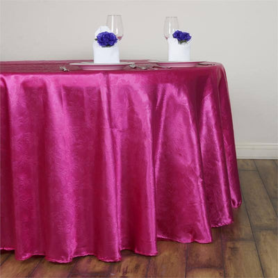 "120"" Fushia Seamless Satin Embossed Lily Round Tablecloth"