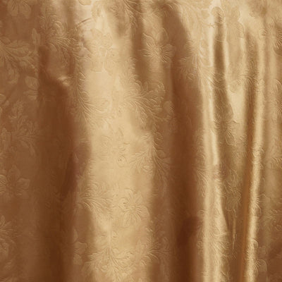 "120"" Gold Seamless Satin Embossed Lily Round Tablecloth"