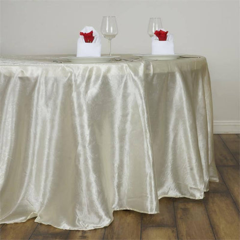 "120"" Ivory Seamless Satin Embossed Lily Round Tablecloth"
