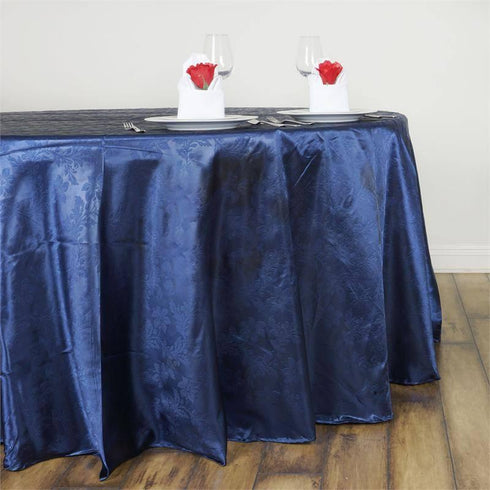 "120"" Navy Blue Seamless Satin Embossed Lily Round Tablecloth"