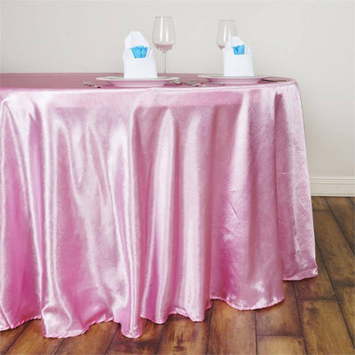 "120"" Pink Seamless Satin Embossed Lily Round Tablecloth"