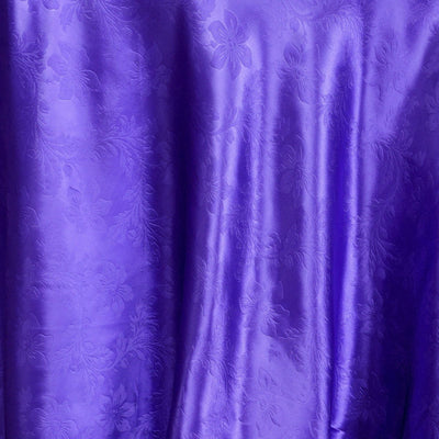 "120"" Purple Seamless Satin Embossed Lily Round Tablecloth"