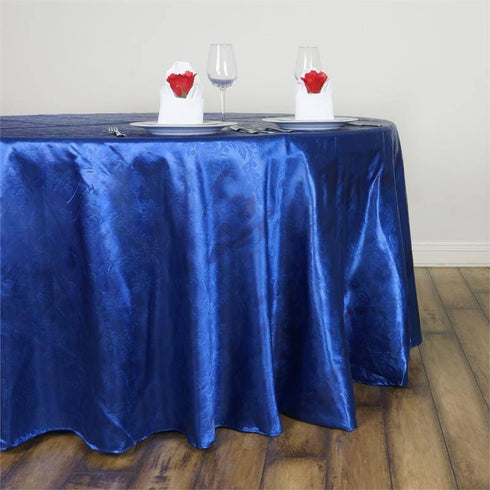 "Adoringly Adorned Satin Lily Round Tablecloth 120"" - Royal Blue"