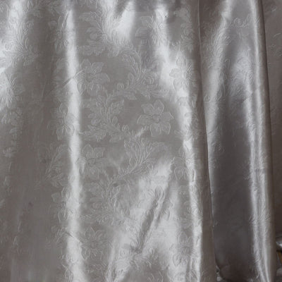 "120"" Silver Seamless Satin Embossed Lily Round Tablecloth"