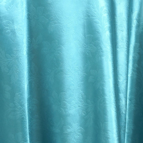 "120"" Turquoise Seamless Satin Embossed Lily Round Tablecloth"
