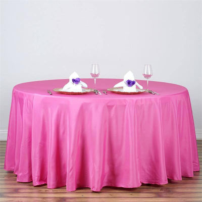 "120"" Polyester Round Tablecloth - Fuchsia"