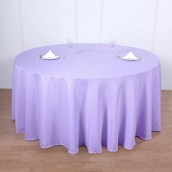 "120"" Lavender Polyester Round Tablecloth"