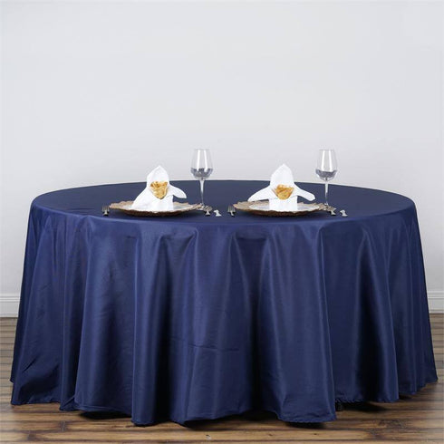 "120"" NAVY BLUE Wholesale Polyester Round Tablecloth For Wedding Banquet Restaurant"
