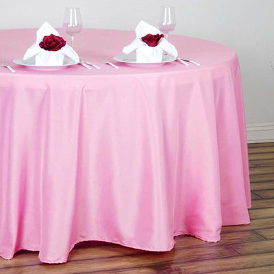 "120"" Pink Polyester Round Tablecloth"