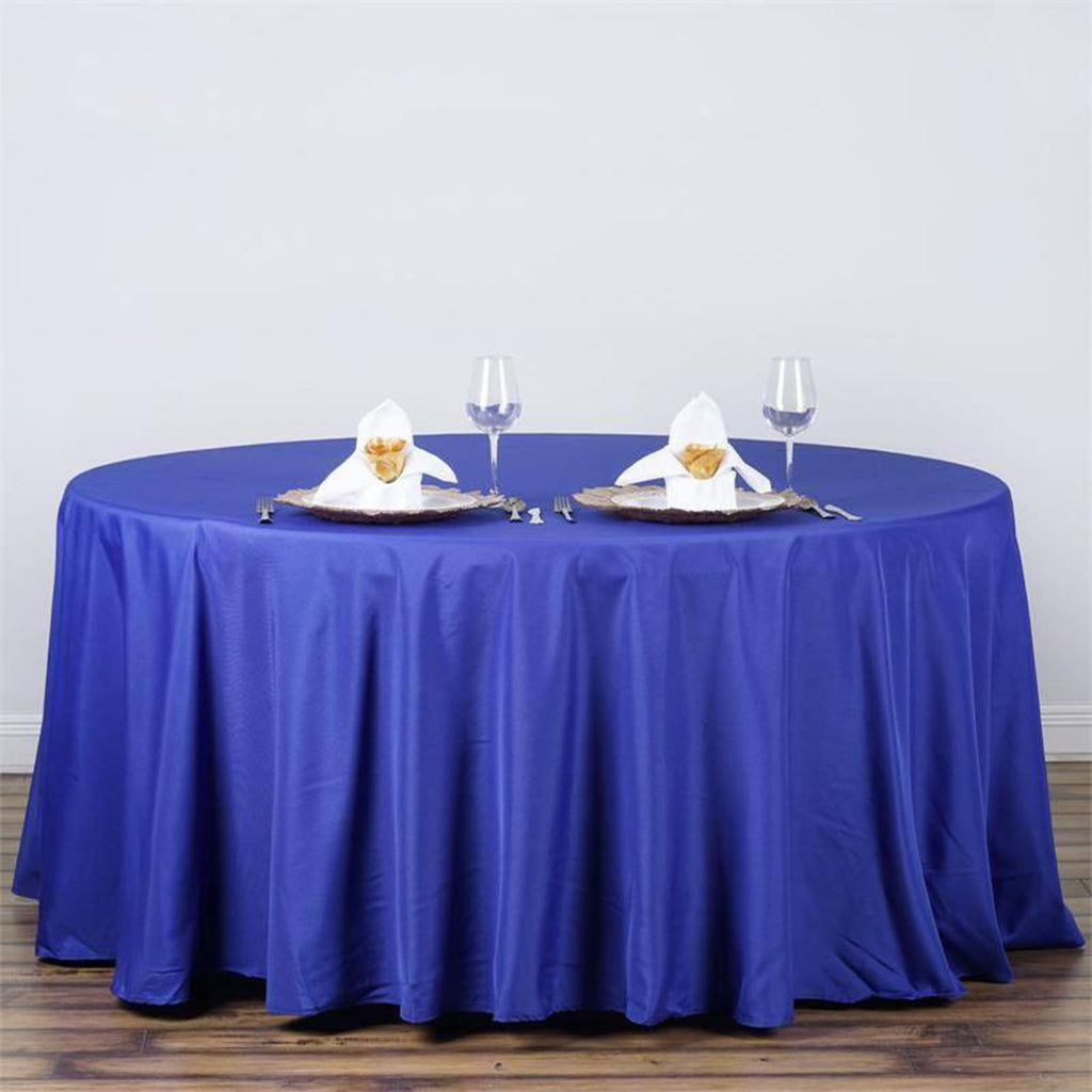 "120"" ROYAL BLUE Wholesale Polyester Round Tablecloth For Wedding Banquet Restaurant"