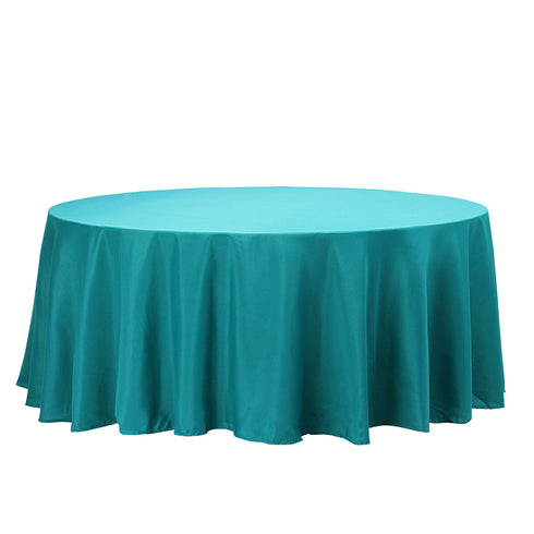 "120"" Teal Polyester Round Tablecloth"