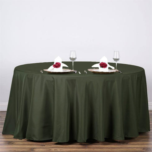 "120"" MOSS / WILLOW Wholesale Polyester Round Tablecloth For Wedding Banquet Restaurant"