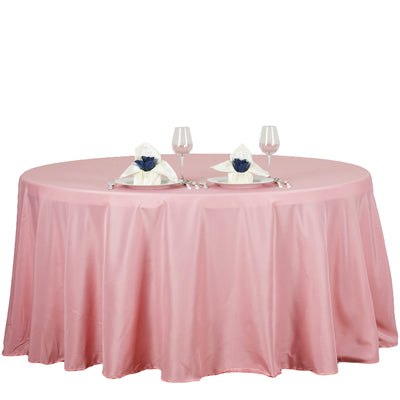 "132"" Rose Quartz Polyester Round Tablecloth"