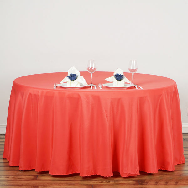 "132"" Coral Red Polyester Round Tablecloth"