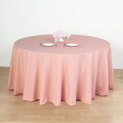 "132"" Dusty Rose Polyester Round Tablecloth"