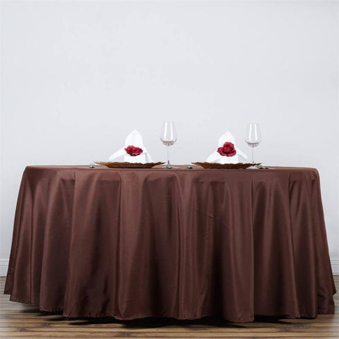 "132"" CHOCOLATE Wholesale Polyester Round Tablecloth For Wedding Banquet Restaurant"