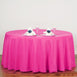 "132"" Fushia Polyester Round Tablecloth"
