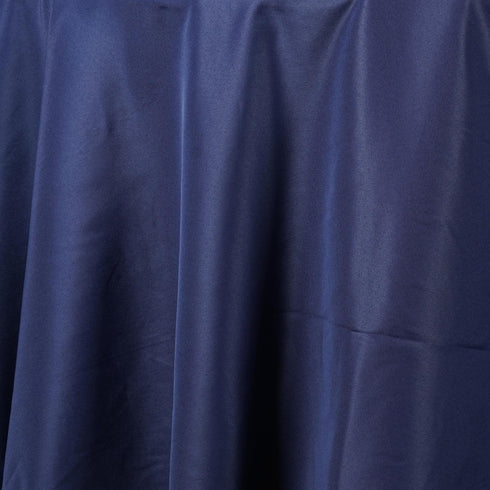 "132"" NAVY BLUE Wholesale Polyester Round Tablecloth For Wedding Banquet Restaurant"
