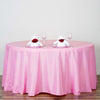 "132"" Pink Wholesale Polyester Round Tablecloth"