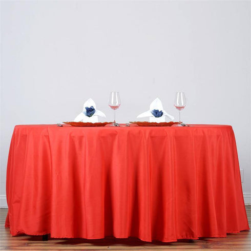 "132"" RED Wholesale Polyester Round Tablecloth For Wedding Banquet Restaurant"