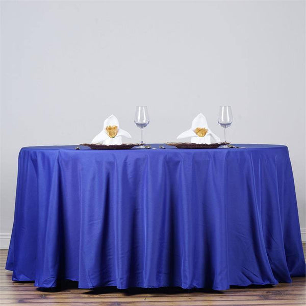 "132"" Royal Blue Polyester Round Tablecloth"