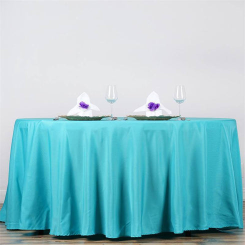 "132"" TURQUOISE Wholesale Polyester Round Tablecloth For Wedding Banquet Restaurant"