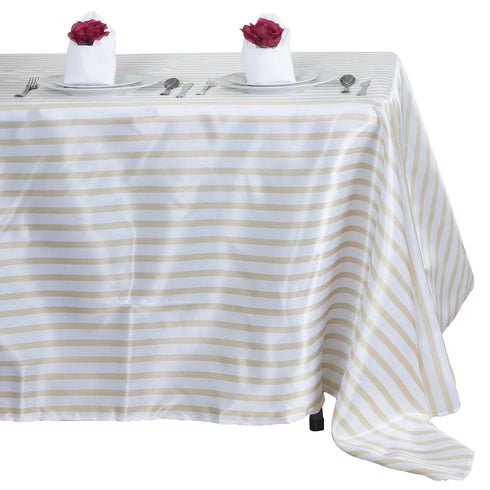 "60x102"" Striped Satin Tablecloth - White/CHAMPAGNE"