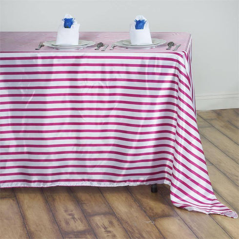 "60x102"" Striped Satin Tablecloth - White/Fushia"